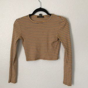 Striped yellow and black long sleeve crop top